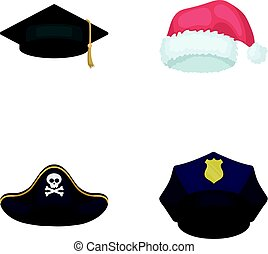 Graduate, santa, police, pirate. Hats set collection icons in cartoon style vector symbol stock illustration web.