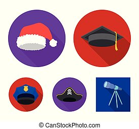 Graduate, santa, police, pirate. Hats set collection icons in flat style vector symbol stock illustration web.