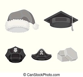 Graduate, santa, police, pirate. Hats set collection icons in monochrome style vector symbol stock illustration web.
