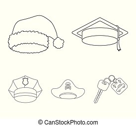 Graduate, santa, police, pirate. Hats set collection icons in outline style vector symbol stock illustration web.