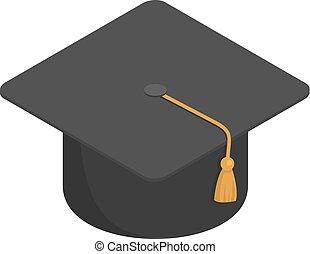 Graduate school black cap icon, isometric style
