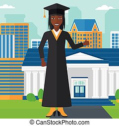 Graduate showing thumb up sign. - An african-american woman...