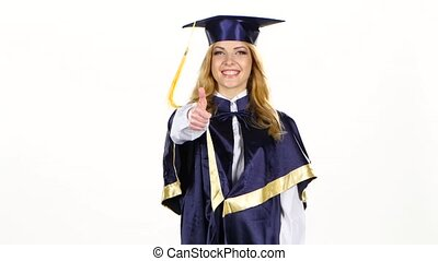 Graduate showing thumbs up and winking. White - Graduate...