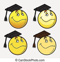 Graduate Smiley Vector Set