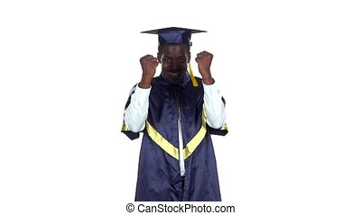Graduate smiling and dancing. White. Slow motion - Student...