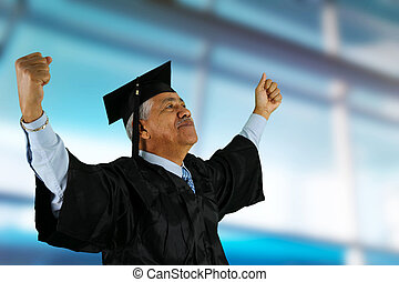 Graduate - Graduation of a senior man in cap and gown
