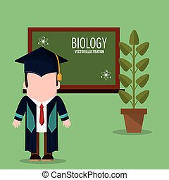 graduate student biology plant and chalkboard