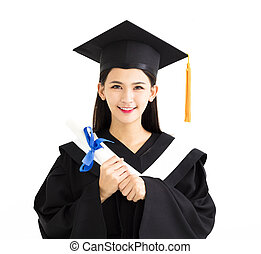 graduate student holding a diploma isolated on white