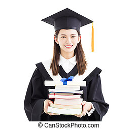 graduate student holding diploma and books isolated on white
