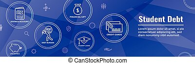 Graduate Student Loan Icon - Student Loan Graphics for Education Financial Aid or Assistance, Government Loans, and Debt