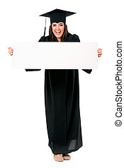 Graduate student showing blank placard board