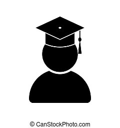 Graduate student with graduation cap icon isolated on white ...
