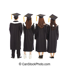 graduate students standing a row. isolated on a white