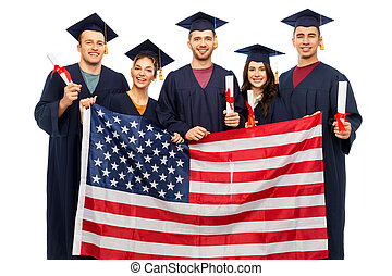 graduate students with diplomas and american flag