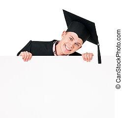 Graduate teen boy with blank board