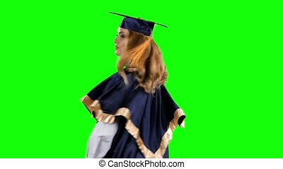 Graduate threatens finger. Green screen