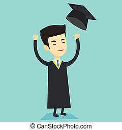 Graduate throwing up graduation hat.