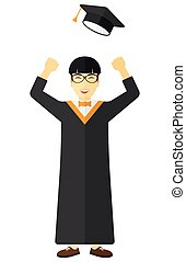 Graduate throwing up his hat. - Happy graduate throwing up...
