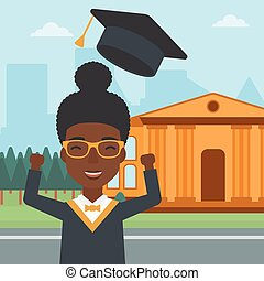 Graduate throwing up his hat. - An african-american woman...