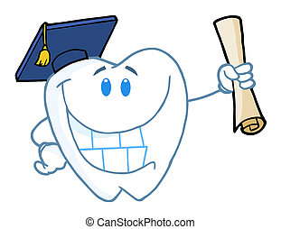 Graduate Tooth Holding A Diploma - Tooth Character Graduate...