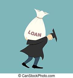 Graduate under burden of loan - Illustration of a student in...