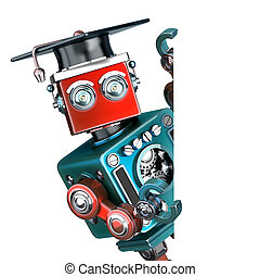Graduate Vintage Robot with a blank banner. Isolated....