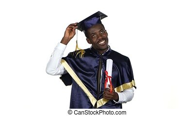 Graduate with a diploma and the academic hat. White