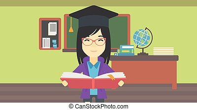 Graduate with book in hands vector illustration.