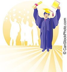 Graduate with certificate - Graduates celebrating with...