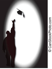 Graduate with mortar - Graduate silhoutte celebrating