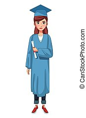 graduate young woman cartoon