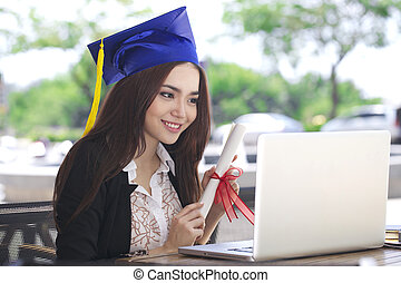 Graduated Asian pretty woman student, online training course