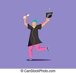 Graduated man in academic dress
