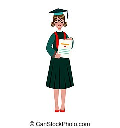 Graduated student girl in cap gown showing diploma. Colorful cartoon illustration