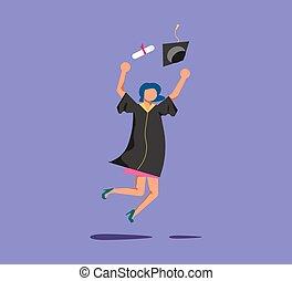 Graduated woman in academic dresse