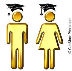 Graduates - 3d golden graduates isolated in white