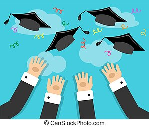 graduates and the joy of graduation - graduates hands thrown...