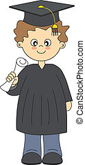 Graduates boy - Illustration of Graduates