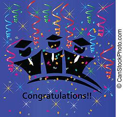 Graduates congratulations vector design