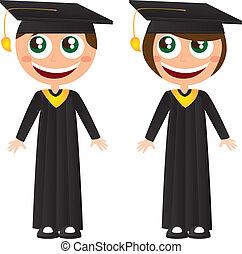 graduates - girl and boy graduates with hat cartoons vector...