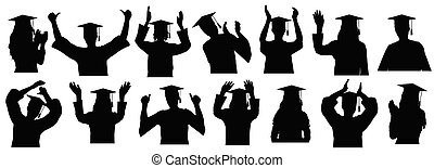 Graduates in academic gown and square academic caps with tassel, set silhouettes. Vector illustration