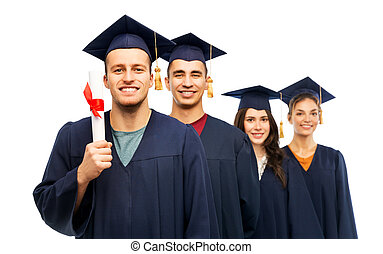graduates in mortar boards with diploma