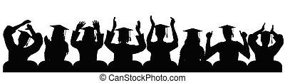 Graduates in square academic caps applauding, silhouettes. Vector illustration.