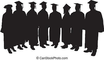 Graduates Silhouette on white background