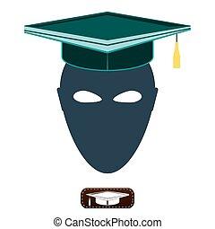 Graduates student education icon vector, cap graduate