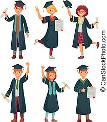Graduates students. College student in graduation gowns, educated university graduating man and woman characters cartoon vector set