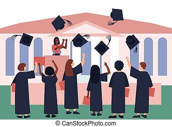 Graduates throw graduation hats in the sky