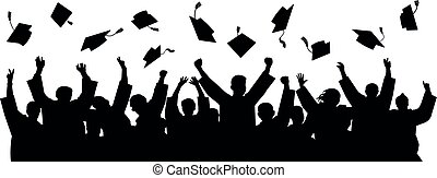 Graduates throwing cap. Silhouette high achievements. School...