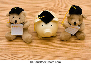 Graduating - A teddy bears wearing a graduation cap with a...