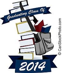 Graduating Class Book Stack Graphic